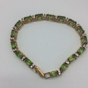 Beautiful peridot gold plated tennis bracelet